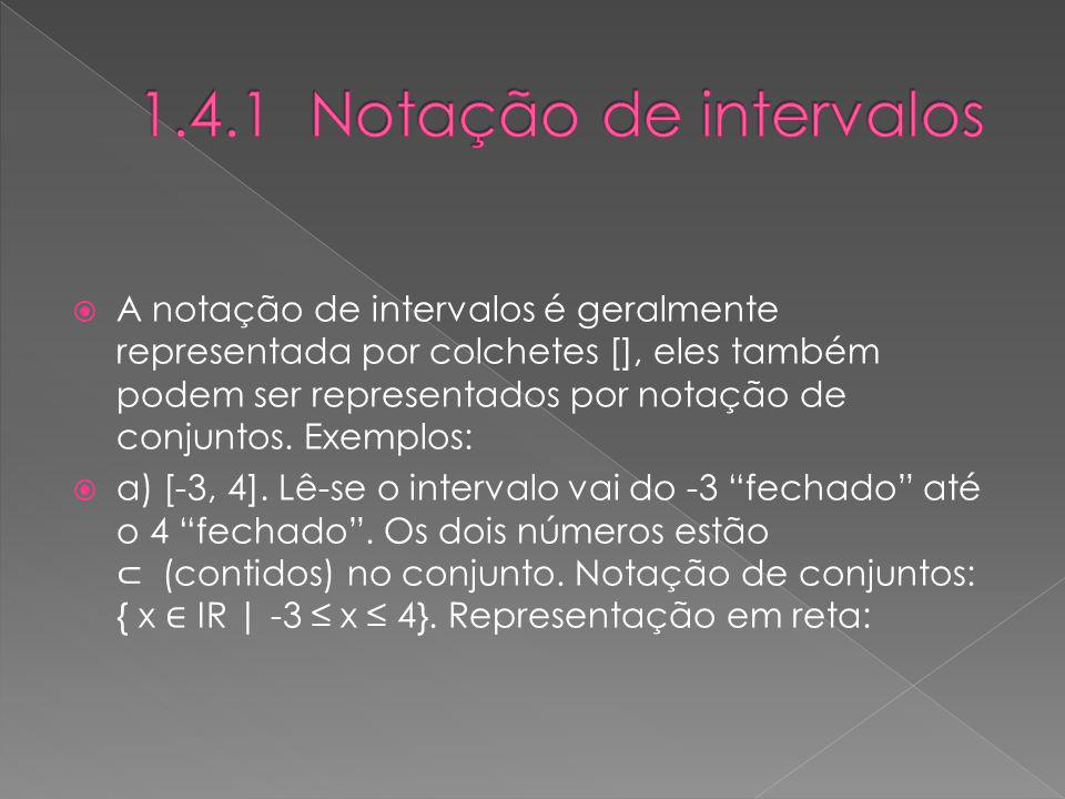 A notação de intervalos é geralmente representada por colchetes [], eles também podem ser representados por notação de conjuntos. Exemplos: a) [-3, 4]