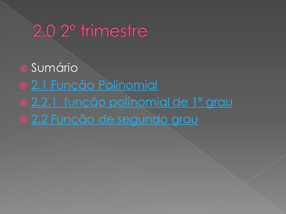 Sumário 2.1 Função Polinomial 2.2.1 função polinomial de 1º grau 2.2 Função de segundo grau
