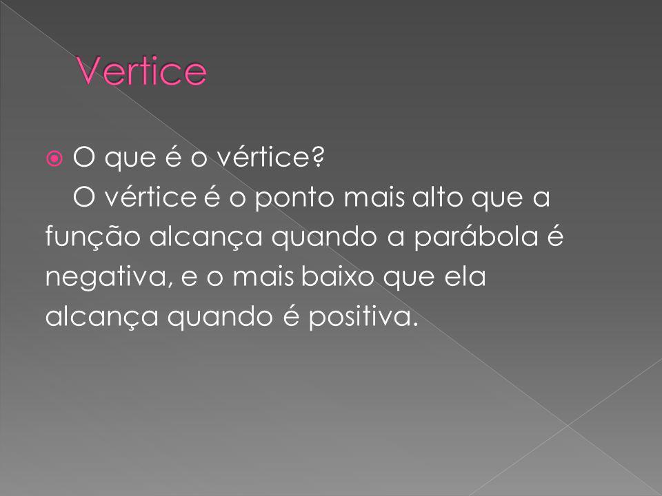 O que é o vértice? O vértice é o ponto mais alto que a função alcança quando a parábola é negativa, e o mais baixo que ela alcança quando é positiva.