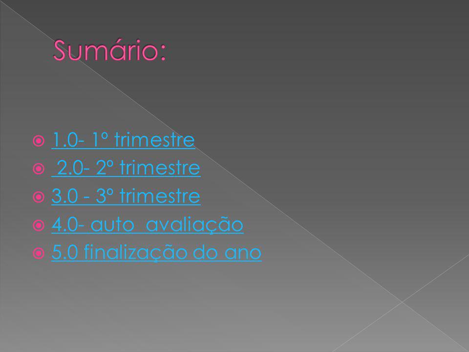 1.0- 1º trimestre 2.0- 2º trimestre 3.0 - 3º trimestre 4.0- auto avaliação 5.0 finalização do ano