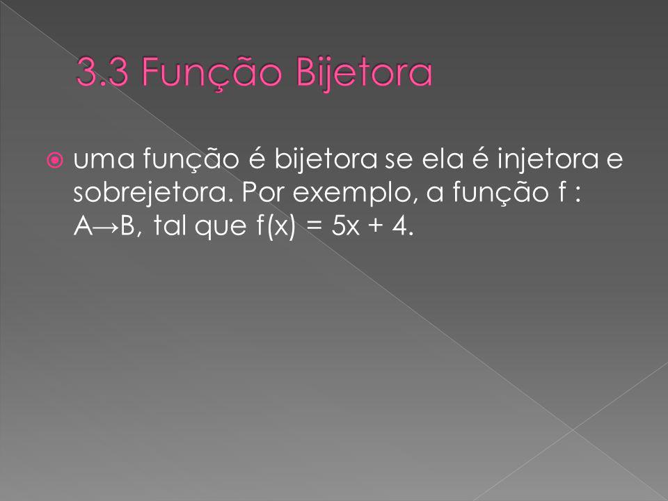 uma função é bijetora se ela é injetora e sobrejetora. Por exemplo, a função f : AB, tal que f(x) = 5x + 4.