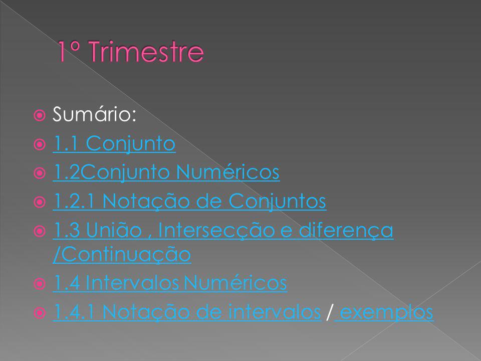 Sumário: 1.1 Conjunto 1.2Conjunto Numéricos 1.2.1 Notação de Conjuntos 1.3 União, Intersecção e diferença /Continuação 1.3 União, Intersecção e difere
