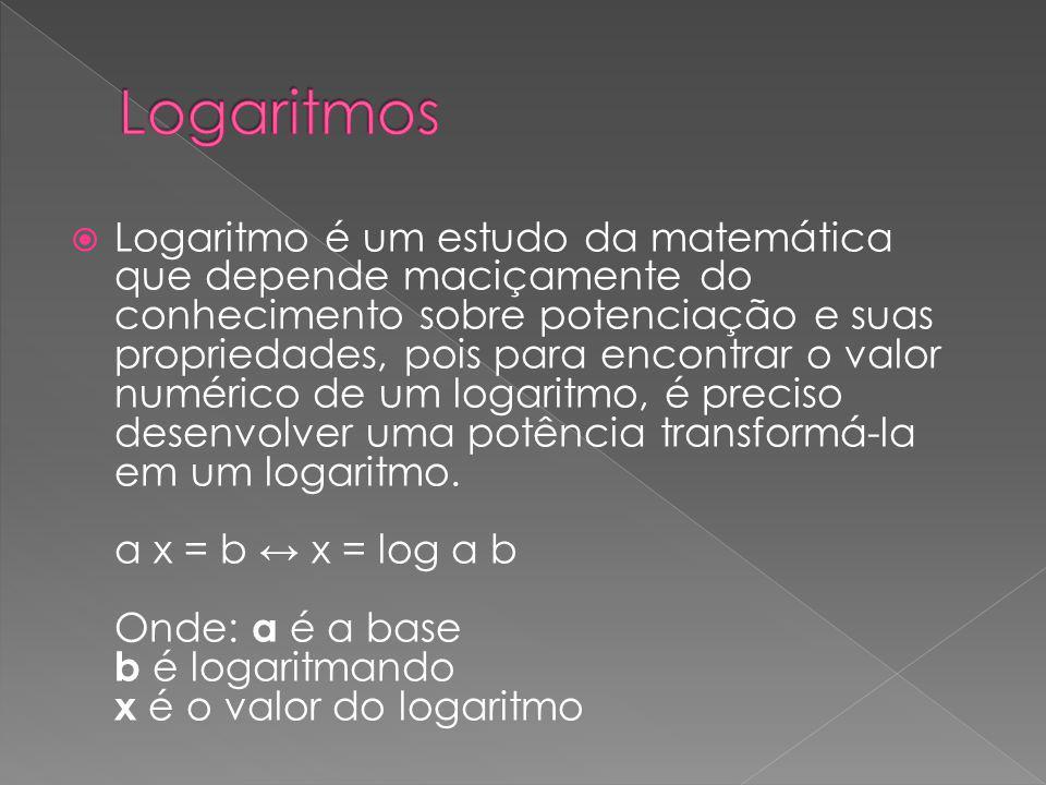 Logaritmo é um estudo da matemática que depende maciçamente do conhecimento sobre potenciação e suas propriedades, pois para encontrar o valor numéric