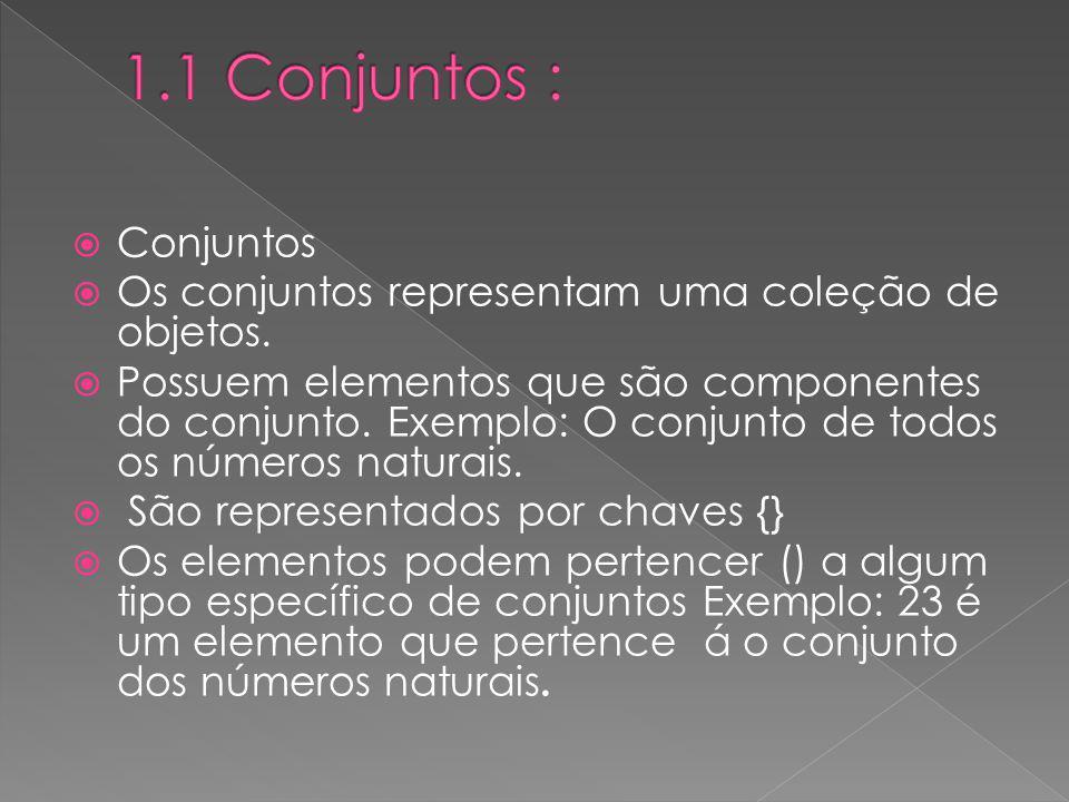 Conjuntos Os conjuntos representam uma coleção de objetos. Possuem elementos que são componentes do conjunto. Exemplo: O conjunto de todos os números