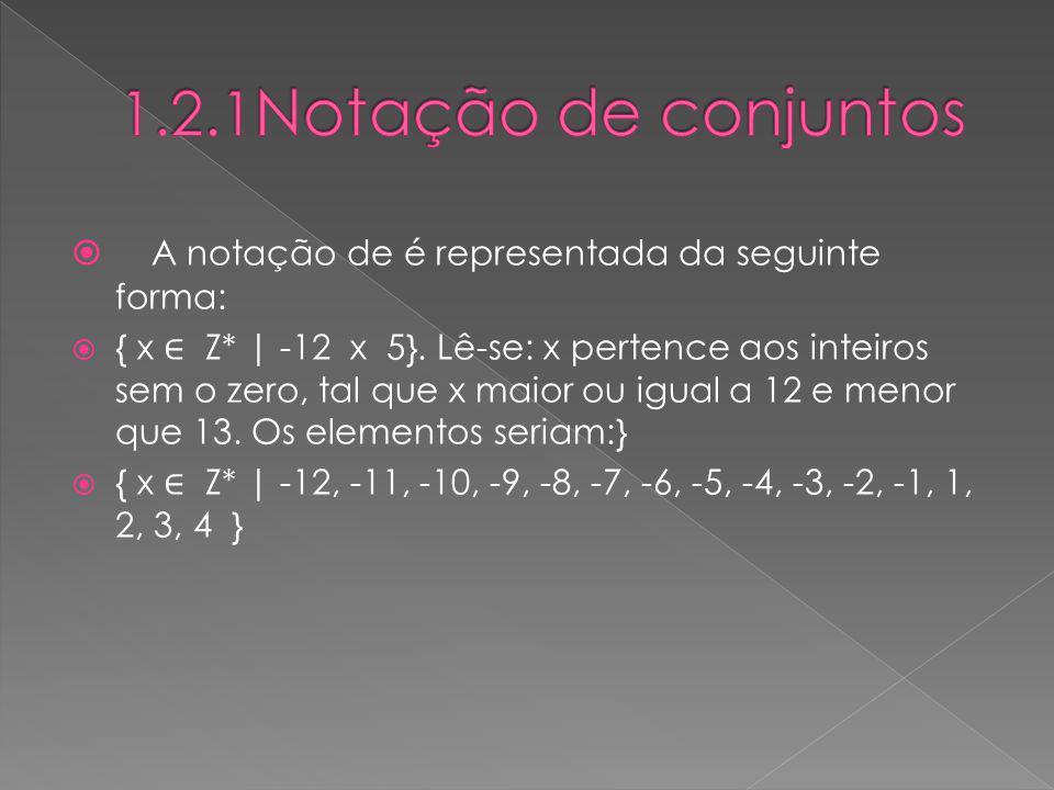 A notação de é representada da seguinte forma: { x Z* | -12 x 5}. Lê-se: x pertence aos inteiros sem o zero, tal que x maior ou igual a 12 e menor que