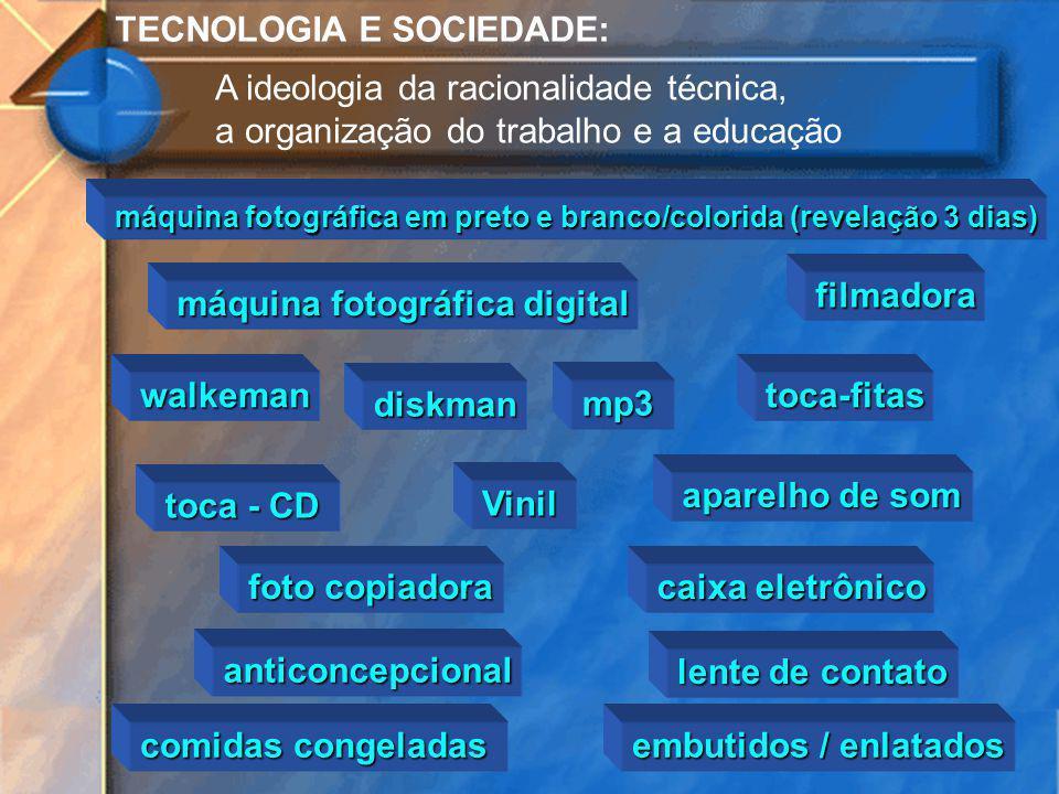 TECNOLOGIA E SOCIEDADE: A ideologia da racionalidade técnica, a organização do trabalho e a educação máquina fotográfica em preto e branco/colorida (r