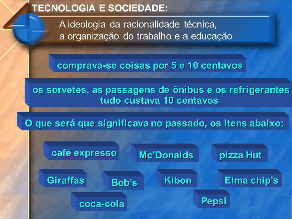 TECNOLOGIA E SOCIEDADE: A ideologia da racionalidade técnica, a organização do trabalho e a educação café expresso McDonalds pizza Hut Giraffas Bobs o