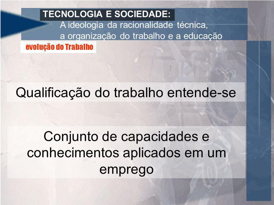 TECNOLOGIA E SOCIEDADE: A ideologia da racionalidade técnica, a organização do trabalho e a educação Qualificação do trabalho entende-se Conjunto de c