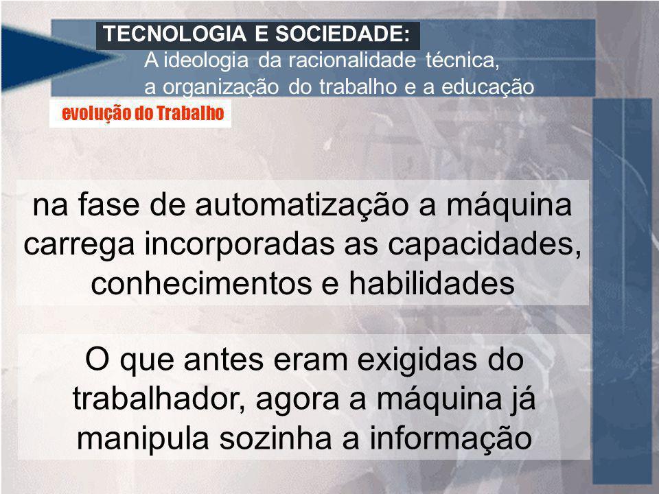 TECNOLOGIA E SOCIEDADE: A ideologia da racionalidade técnica, a organização do trabalho e a educação na fase de automatização a máquina carrega incorp
