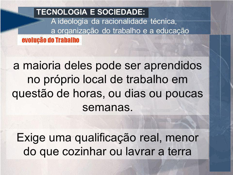 TECNOLOGIA E SOCIEDADE: A ideologia da racionalidade técnica, a organização do trabalho e a educação a maioria deles pode ser aprendidos no próprio lo