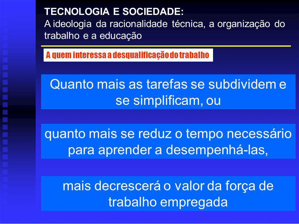 TECNOLOGIA E SOCIEDADE: A ideologia da racionalidade técnica, a organização do trabalho e a educação A quem interessa a desqualificação do trabalho Qu