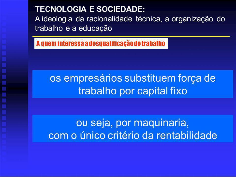 os empresários substituem força de trabalho por capital fixo TECNOLOGIA E SOCIEDADE: A ideologia da racionalidade técnica, a organização do trabalho e