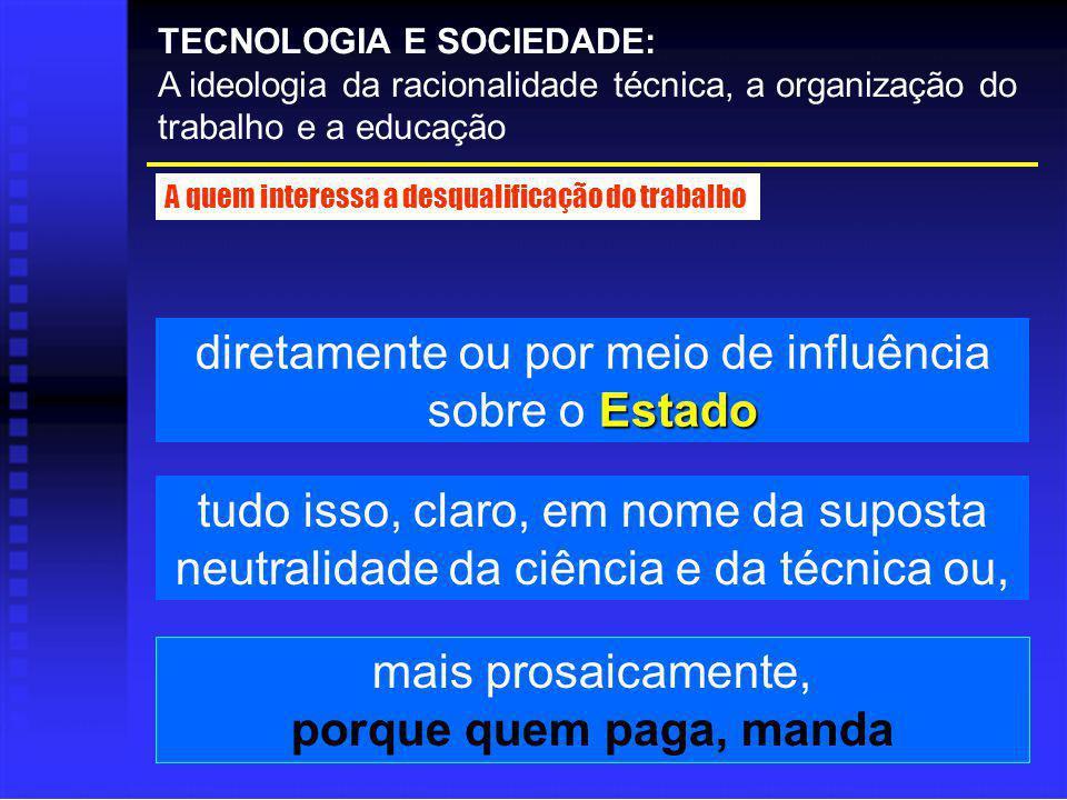 TECNOLOGIA E SOCIEDADE: A ideologia da racionalidade técnica, a organização do trabalho e a educação A quem interessa a desqualificação do trabalho Es