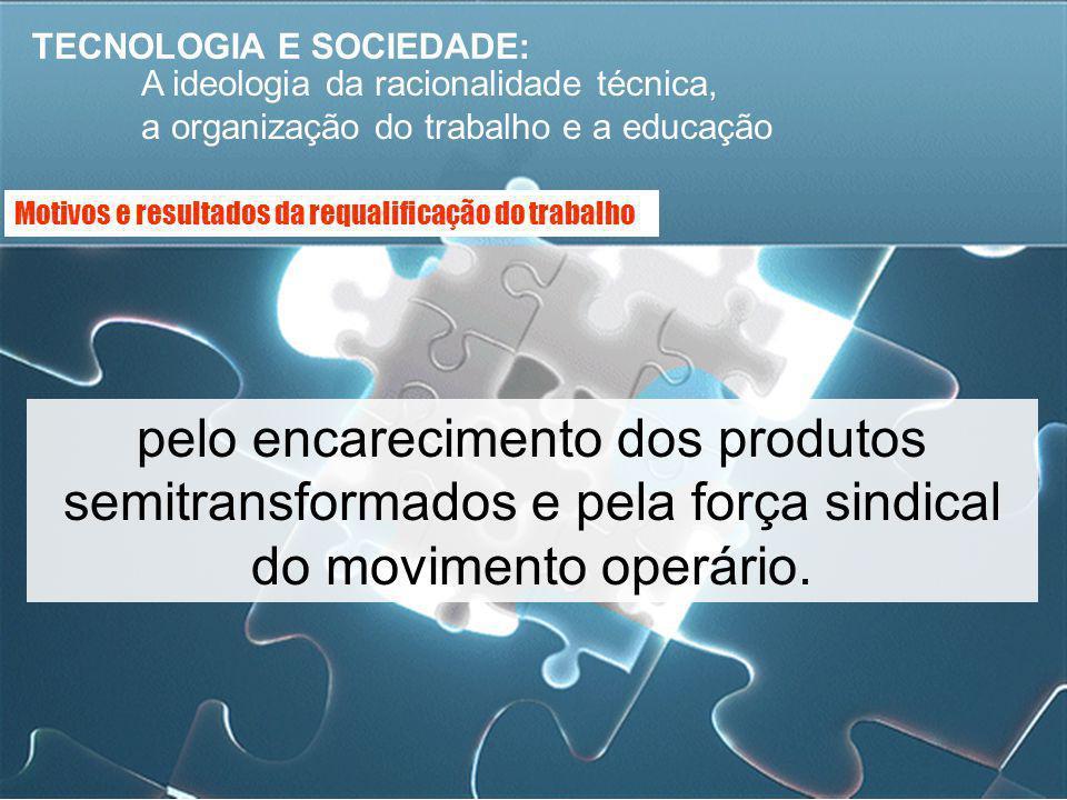TECNOLOGIA E SOCIEDADE: A ideologia da racionalidade técnica, a organização do trabalho e a educação pelo encarecimento dos produtos semitransformados