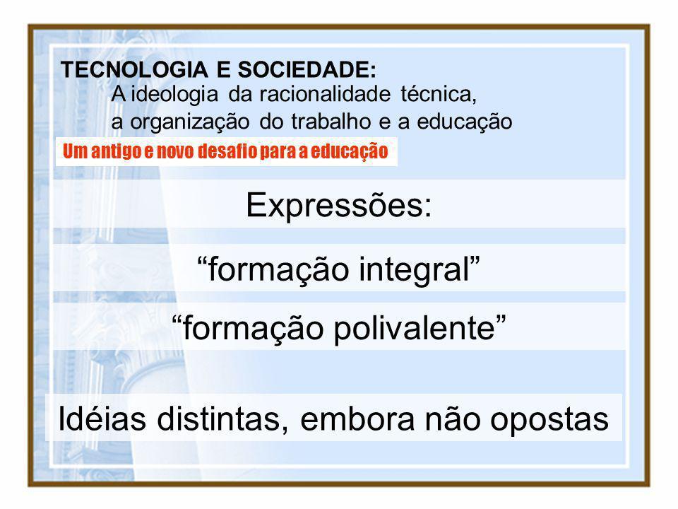 TECNOLOGIA E SOCIEDADE: A ideologia da racionalidade técnica, a organização do trabalho e a educação Um antigo e novo desafio para a educação Expressõ