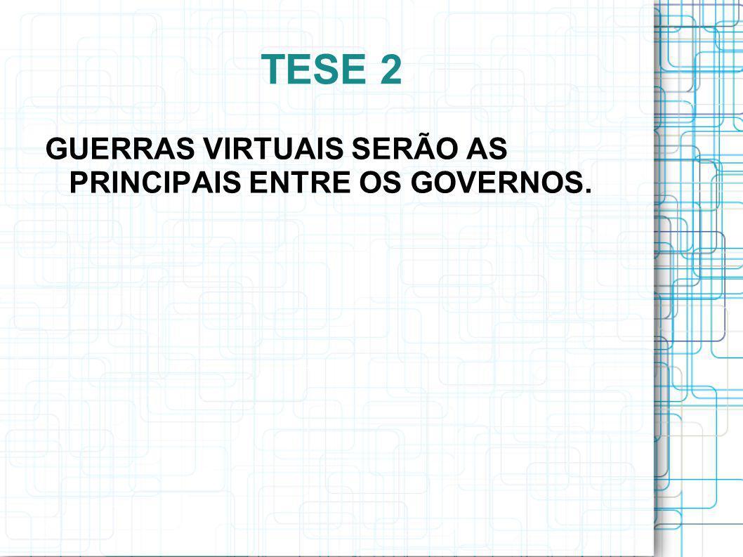 TESE 2 GUERRAS VIRTUAIS SERÃO AS PRINCIPAIS ENTRE OS GOVERNOS.