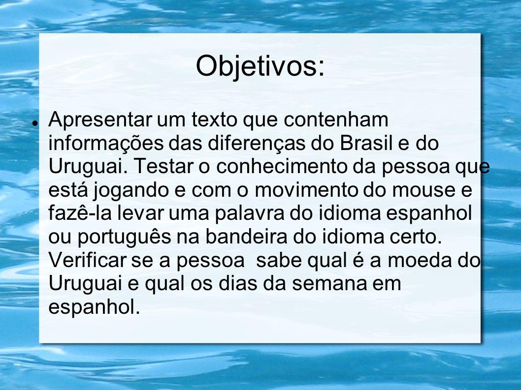 Objetivos: Apresentar um texto que contenham informações das diferenças do Brasil e do Uruguai. Testar o conhecimento da pessoa que está jogando e com
