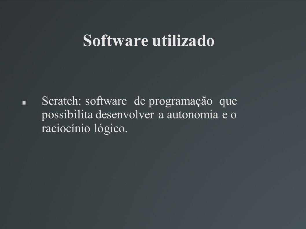 Software utilizado Scratch: software de programação que possibilita desenvolver a autonomia e o raciocínio lógico.