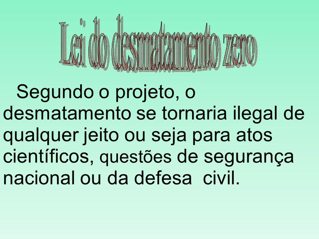 Segundo o projeto, o desmatamento se tornaria ilegal de qualquer jeito ou seja para atos científicos, questões de segurança nacional ou da defesa civi