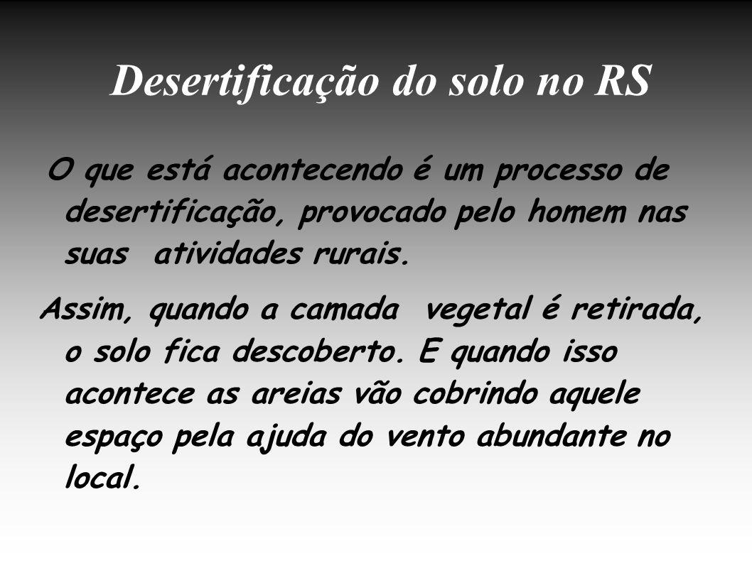 Desertificação do solo no RS O que está acontecendo é um processo de desertificação, provocado pelo homem nas suas atividades rurais. Assim, quando a