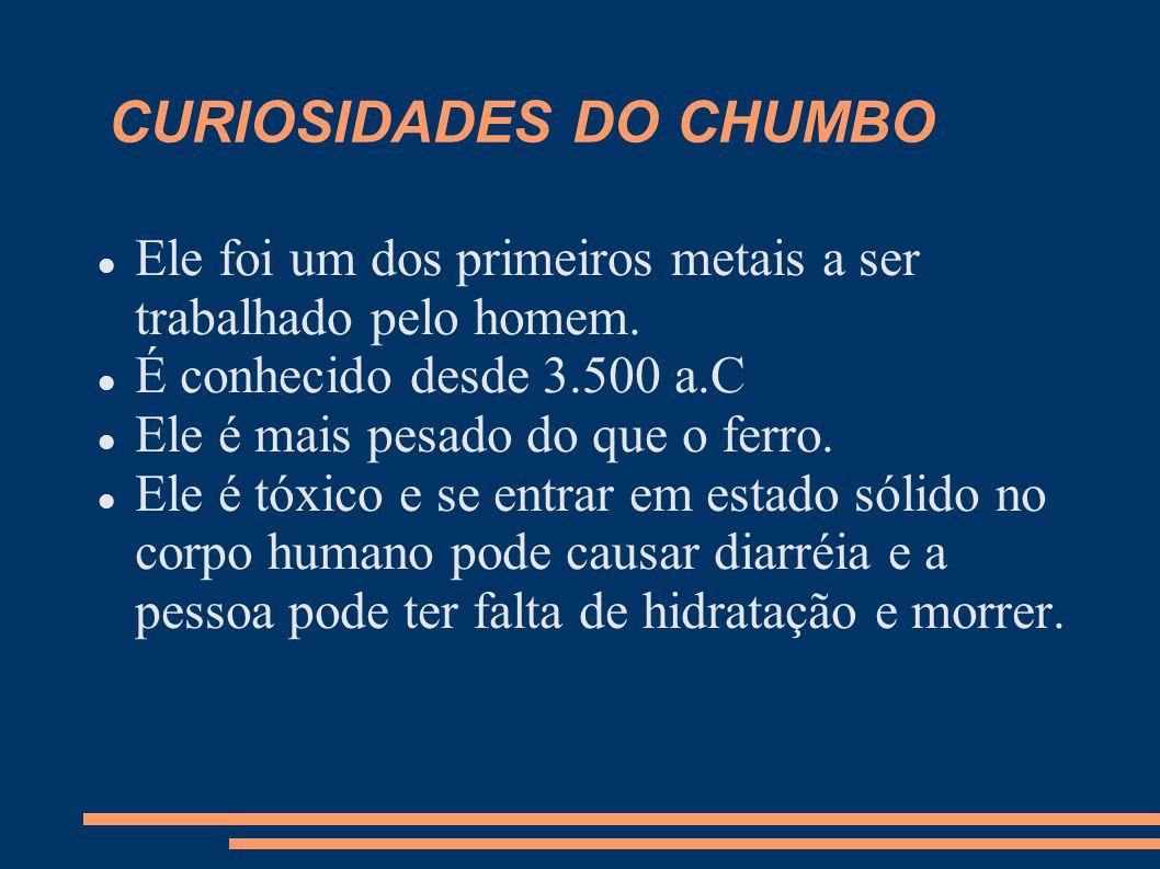 CURIOSIDADES DO CHUMBO Ele foi um dos primeiros metais a ser trabalhado pelo homem. É conhecido desde 3.500 a.C Ele é mais pesado do que o ferro. Ele