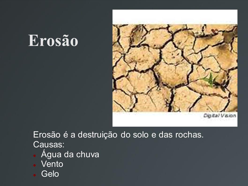 Erosão Erosão é a destruição do solo e das rochas. Causas: Água da chuva Vento Gelo