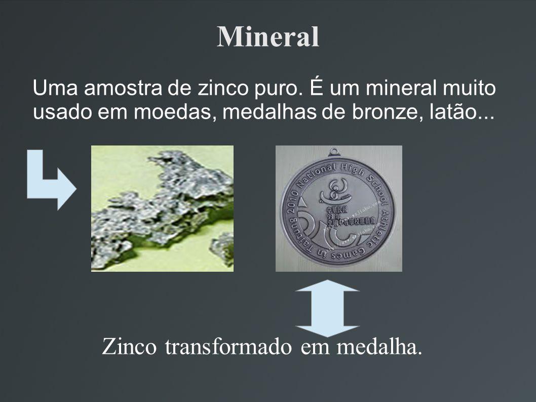 Mineral Uma amostra de zinco puro. É um mineral muito usado em moedas, medalhas de bronze, latão... Zinco transformado em medalha.