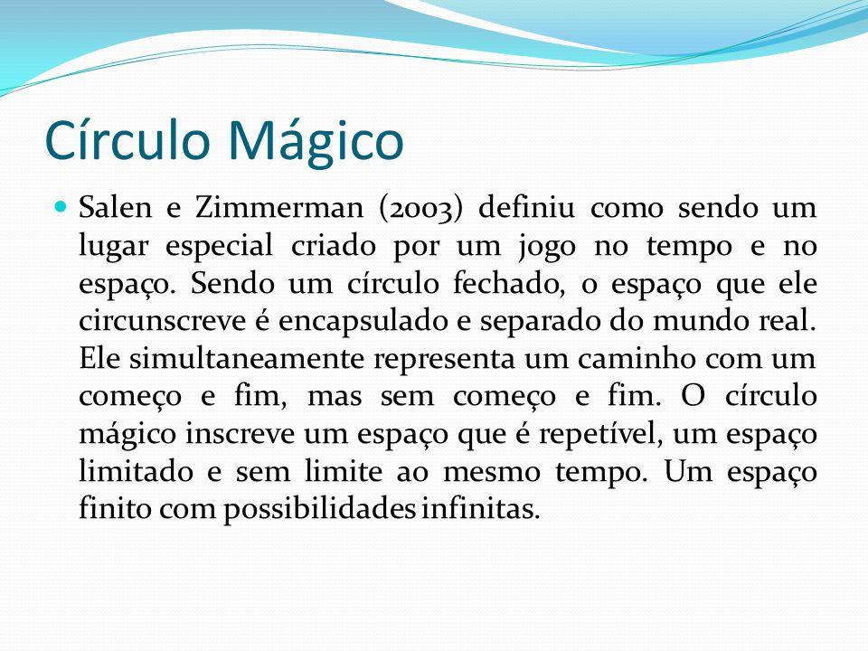 Círculo Mágico Salen e Zimmerman (2003) definiu como sendo um lugar especial criado por um jogo no tempo e no espaço.