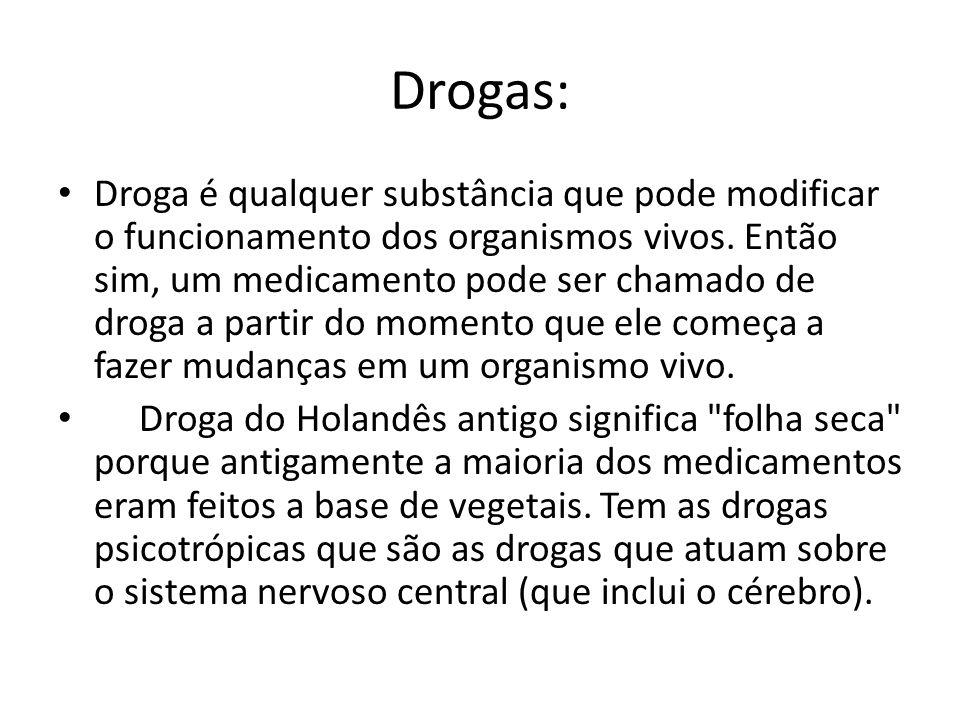 Drogas: Droga é qualquer substância que pode modificar o funcionamento dos organismos vivos. Então sim, um medicamento pode ser chamado de droga a par