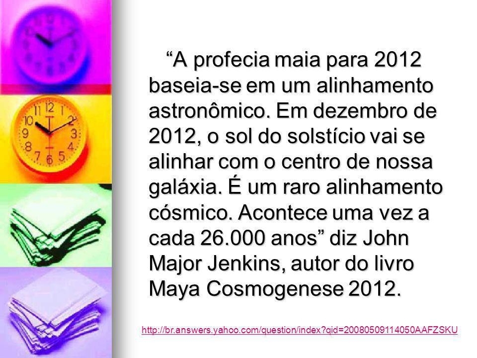 A profecia maia para 2012 baseia-se em um alinhamento astronômico.