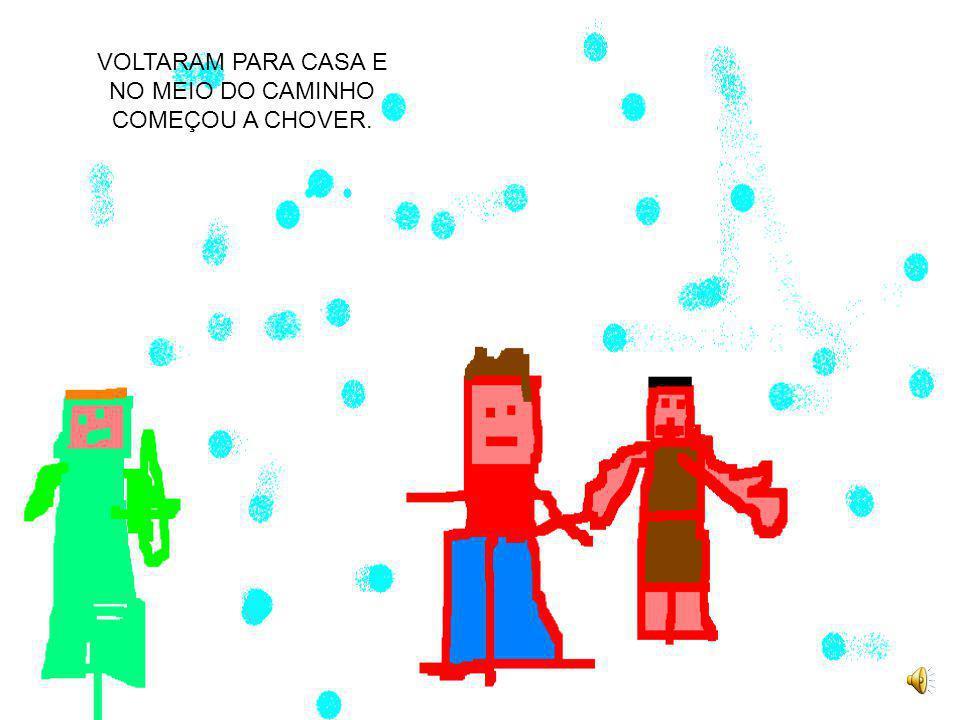 VOLTARAM PARA CASA E NO MEIO DO CAMINHO COMEÇOU A CHOVER.