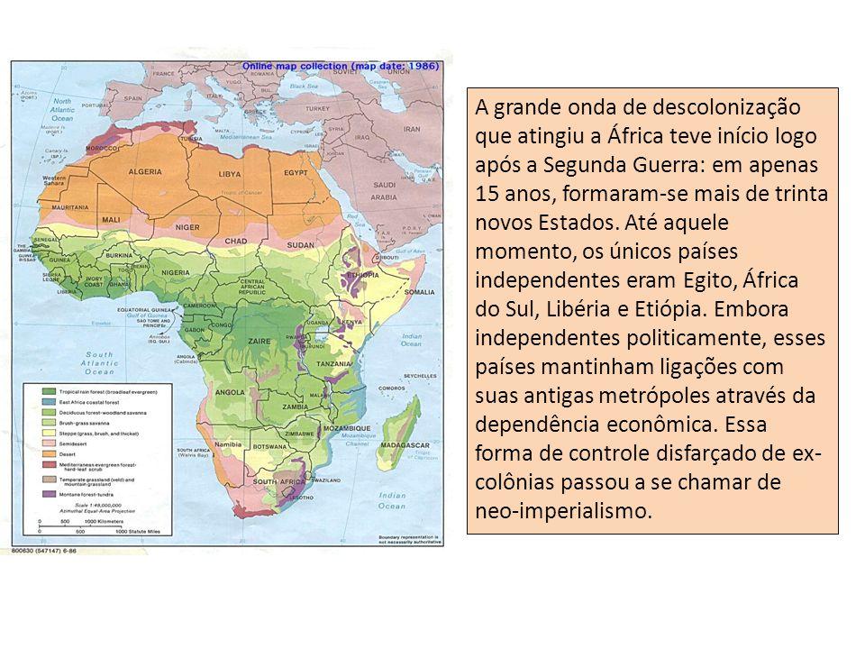 Ano em que cada país conquistou a independência O processo de descolonização nos vários países foi marcado pela violência.