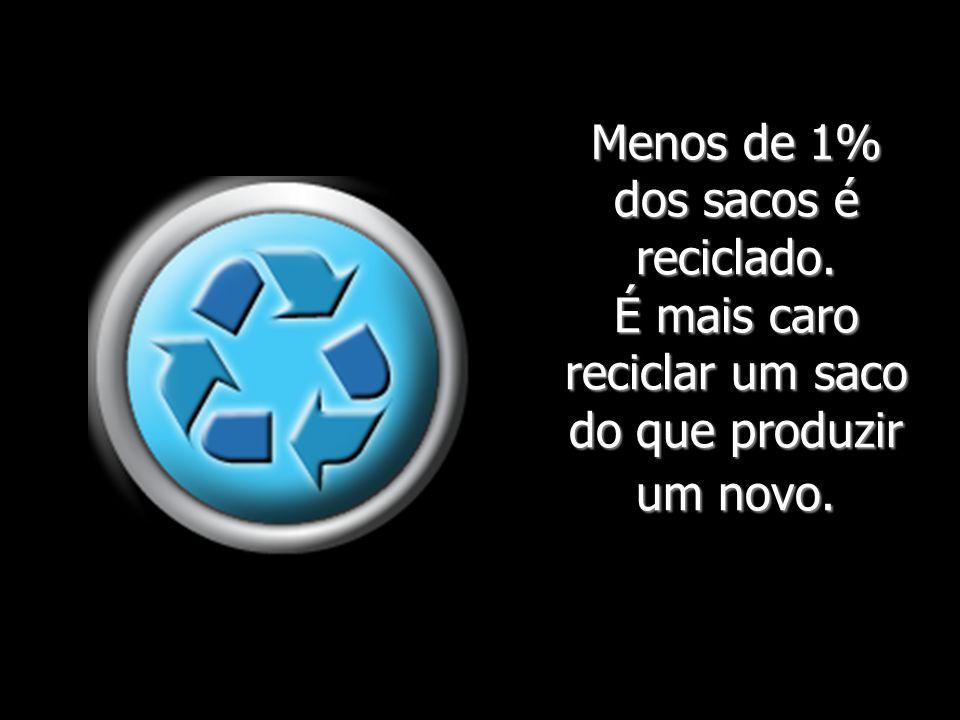 Menos de 1% dos sacos é reciclado. É mais caro reciclar um saco do que produzir um novo.