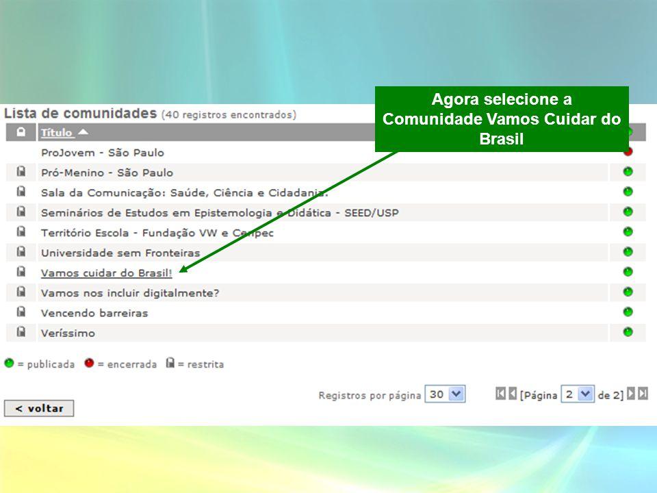 Agora selecione a Comunidade Vamos Cuidar do Brasil
