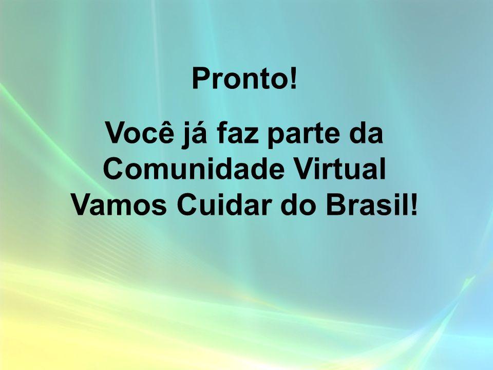 Pronto! Você já faz parte da Comunidade Virtual Vamos Cuidar do Brasil!