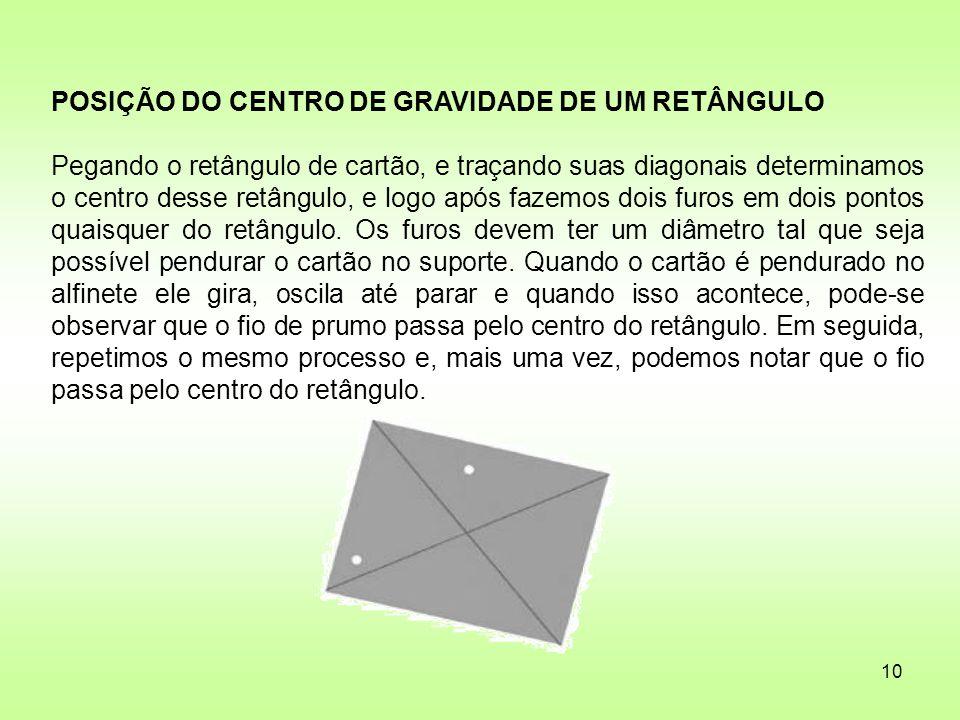 10 POSIÇÃO DO CENTRO DE GRAVIDADE DE UM RETÂNGULO Pegando o retângulo de cartão, e traçando suas diagonais determinamos o centro desse retângulo, e lo