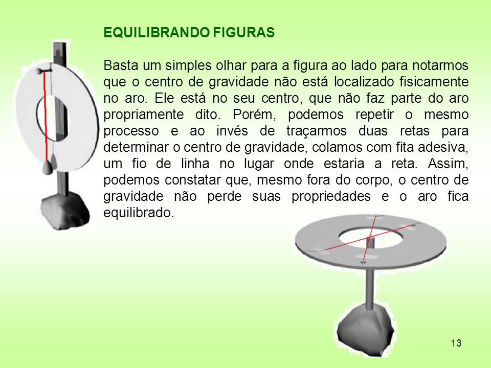 13 EQUILIBRANDO FIGURAS Basta um simples olhar para a figura ao lado para notarmos que o centro de gravidade não está localizado fisicamente no aro. E