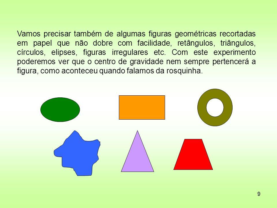 9 Vamos precisar também de algumas figuras geométricas recortadas em papel que não dobre com facilidade, retângulos, triângulos, círculos, elipses, fi
