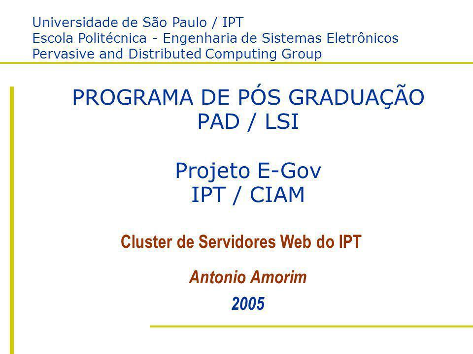 PAD / LSI USP / POLI IPT / CIAM Antonio Amorim Cluster LVS para Servidores Web PROGRAMA DE PÓS GRADUAÇÃO PAD / LSI Projeto E-Gov IPT / CIAM Antonio Am