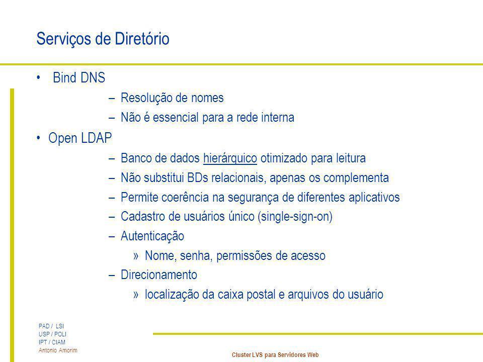 PAD / LSI USP / POLI IPT / CIAM Antonio Amorim Cluster LVS para Servidores Web Serviços de Diretório Bind DNS –Resolução de nomes –Não é essencial par