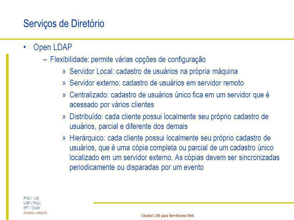 PAD / LSI USP / POLI IPT / CIAM Antonio Amorim Cluster LVS para Servidores Web Serviços de Diretório Open LDAP –Flexibilidade: permite várias opções d