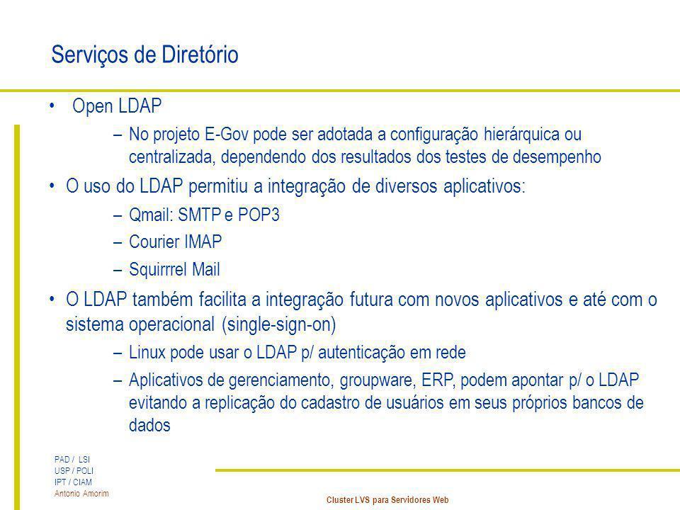 PAD / LSI USP / POLI IPT / CIAM Antonio Amorim Cluster LVS para Servidores Web Serviços de Diretório Open LDAP –No projeto E-Gov pode ser adotada a co