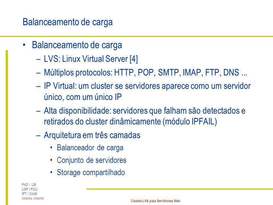 PAD / LSI USP / POLI IPT / CIAM Antonio Amorim Cluster LVS para Servidores Web Balanceamento de carga –LVS: Linux Virtual Server [4] –Múltiplos protoc