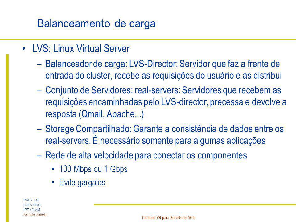 PAD / LSI USP / POLI IPT / CIAM Antonio Amorim Cluster LVS para Servidores Web Balanceamento de carga LVS: Linux Virtual Server –Balanceador de carga:
