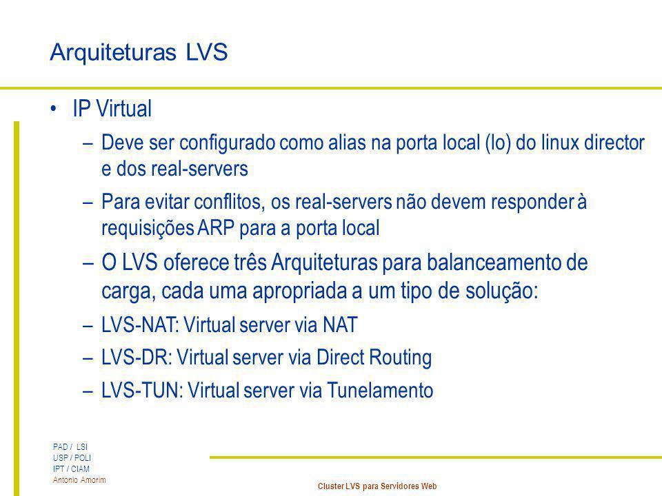 PAD / LSI USP / POLI IPT / CIAM Antonio Amorim Cluster LVS para Servidores Web Arquiteturas LVS IP Virtual –Deve ser configurado como alias na porta l