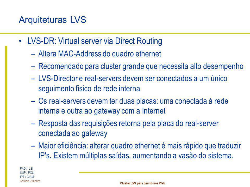 PAD / LSI USP / POLI IPT / CIAM Antonio Amorim Cluster LVS para Servidores Web Arquiteturas LVS LVS-DR: Virtual server via Direct Routing –Altera MAC-