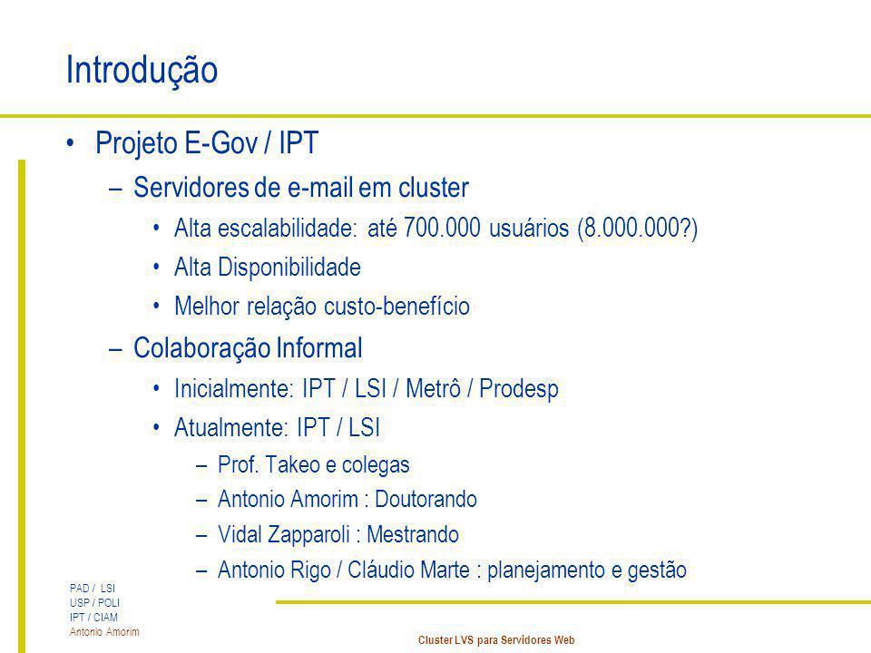 PAD / LSI USP / POLI IPT / CIAM Antonio Amorim Cluster LVS para Servidores Web Introdução Projeto E-Gov / IPT –Servidores de e-mail em cluster Alta es