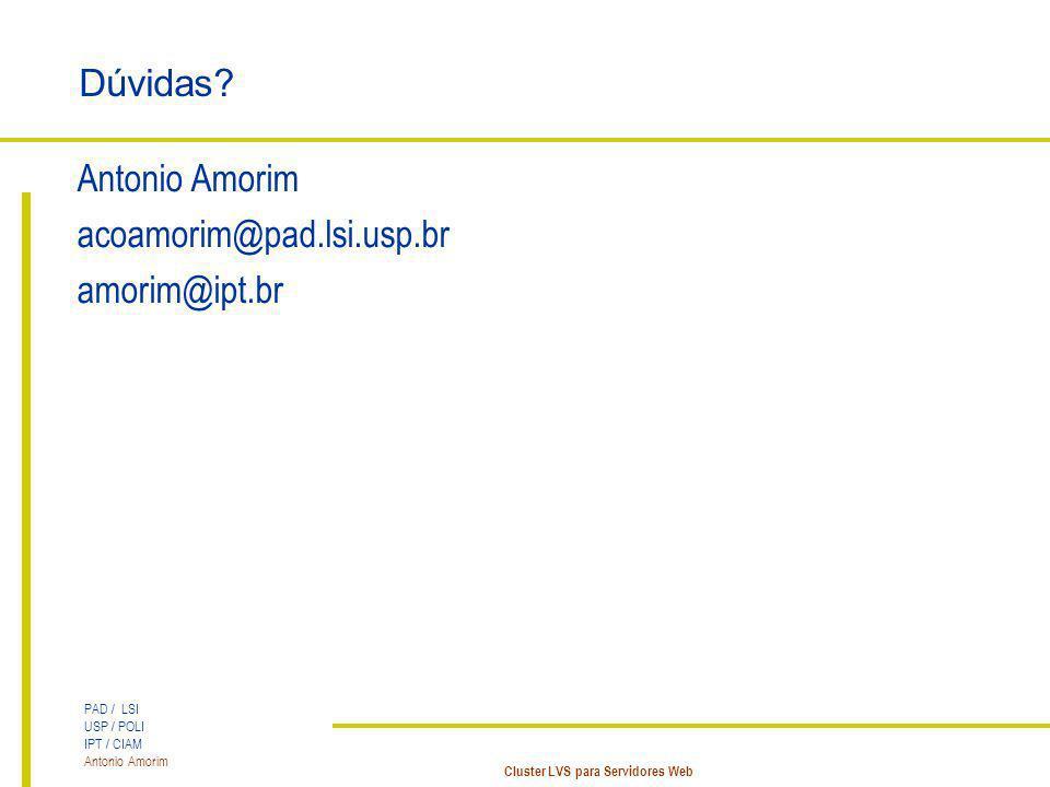 PAD / LSI USP / POLI IPT / CIAM Antonio Amorim Cluster LVS para Servidores Web Dúvidas? Antonio Amorim acoamorim@pad.lsi.usp.br amorim@ipt.br
