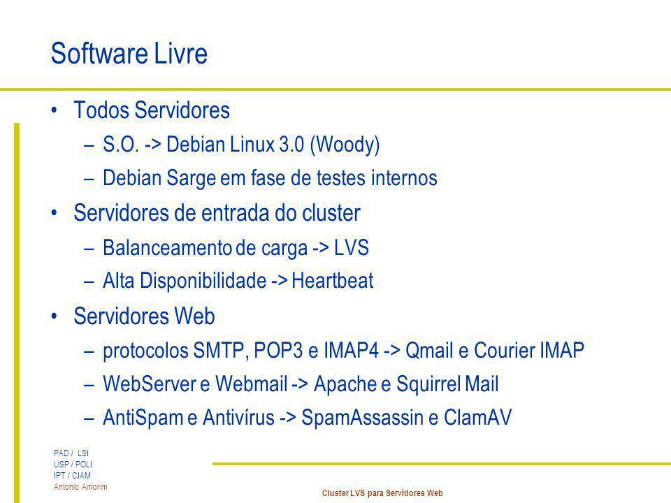 PAD / LSI USP / POLI IPT / CIAM Antonio Amorim Cluster LVS para Servidores Web Software Livre Todos Servidores –S.O. -> Debian Linux 3.0 (Woody) –Debi