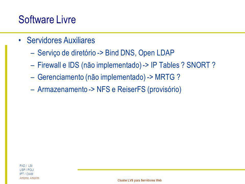 PAD / LSI USP / POLI IPT / CIAM Antonio Amorim Cluster LVS para Servidores Web Software Livre Servidores Auxiliares –Serviço de diretório -> Bind DNS,